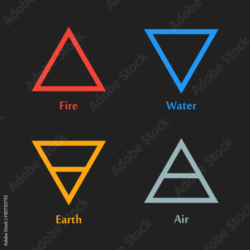 Vector Illustration Of Four Elements Icons Triangle Icons Symbols