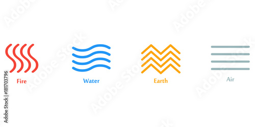 Vector Illustration Of Four Elements Icons Line Symbols Logo