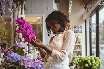 Female florist touching flowers