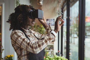 Female florist virtual reality headset