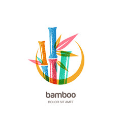 Vector logo icon or emblem with multicolor creative bamboo plant in circle frame. Concept for spa and beauty salon, asian massage, cosmetics package, furniture materials.