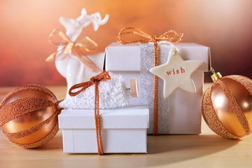 Festive Christmas Copper and White Gifts