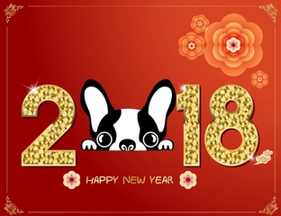 Happy Chinese new year 2018. Year of the dog. Red and gold color. Vector illustration.