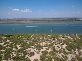 Playa de El Rompido en Cartaya, provincia de Huelva (Andalucia,España) Fotografia aerea con Drone
