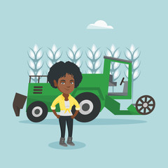 Young african-american farmer standing on the background of combine harvester working in a wheat field. Vector cartoon illustration. Square layout.