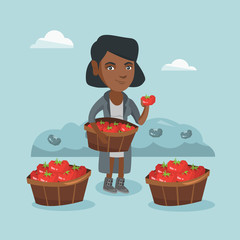 Young african farmer holding basket with tomatoes and showing ripe red tomato on the background of field with bushes of tomatoes. Farmer collecting tomatoes. Vector cartoon illustration. Square layout