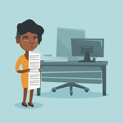 Young african accountant standing in the office with a long bill in hands. Disappointed accountant holding a long bill. Accountant looking at long bill. Vector cartoon illustration. Square layout.