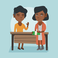 Young african business woman giving a bribe to an executive. Not corrupted executive refusing to take a bribe. Honest executive rejecting to take a bribe. Vector cartoon illustration. Square layout.