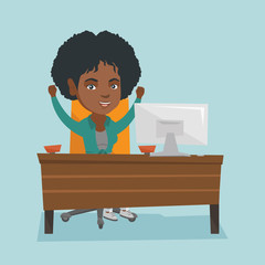 Young african-american business woman sitting at the table in the office and celebrating business success with raised hands. Business success concept. Vector cartoon illustration. Square layout.