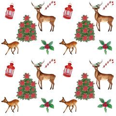 watercolor Christmas pattern with deer