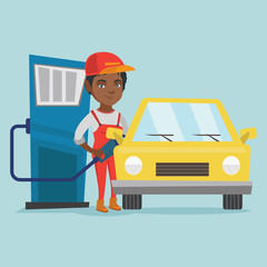 Young african-american worker of gas station refueling a car. Woman in workwear pumping gasoline fuel in car at gas station. Vector cartoon illustration. Square layout.