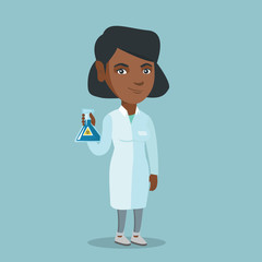 Young african-american laboratory assistant holding a flask with biohazard sign. Laboratory assistant in medical gown showing a flask with biohazard sign. Vector cartoon illustration. Square layout.