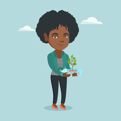 Young african-american woman holding plastic bottle with plant growing inside. Woman holding plastic bottle used as a plant pot. Plastic recycling concept. Vector cartoon illustration. Square layout.