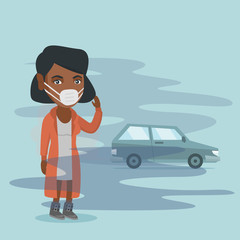 Young african woman standing on the background of car with traffic fumes. Woman wearing mask because of toxic air pollution. Toxic air pollution concept. Vector cartoon illustration. Square layout.