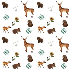 watercolor pattern with bears and deer