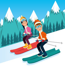 people doing winter sports vector illustration graphic design