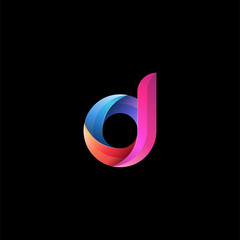 Initial lowercase letter d, curve rounded logo, gradient vibrant colorful glossy colors on black background