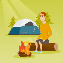 Young caucasian white man sitting on a log near campfire on the background of camping site with tent. Travelling man resting near campfire in the campsite. Vector cartoon illustration. Square layout.