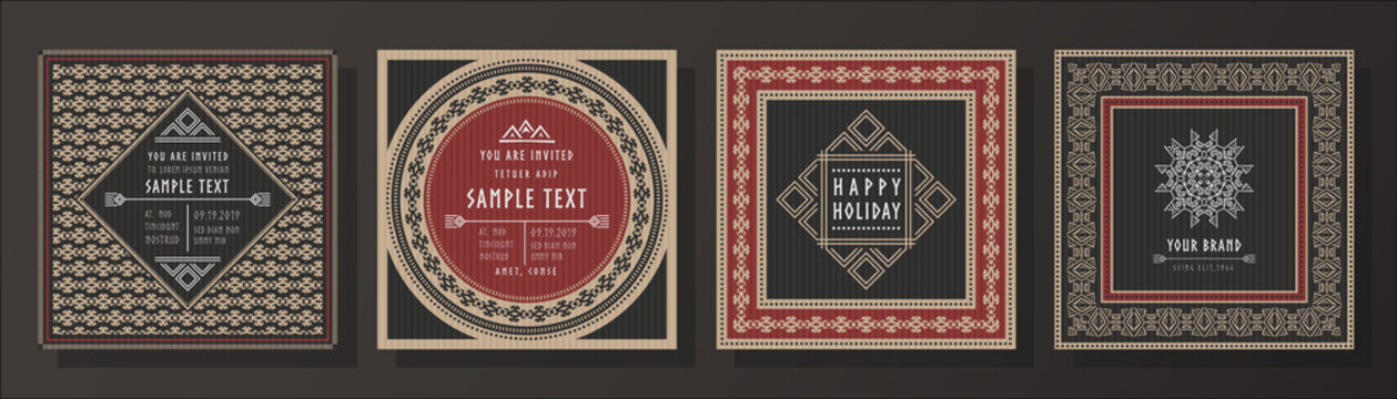 Abstract tribal vector invitation template set.