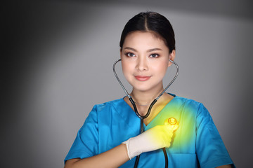 Doctor Nurse in white blue shirt with stethoscope and rubber gloves