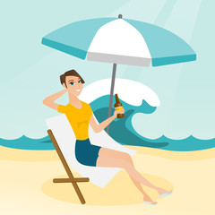 Young caucasian white woman sitting on a chaise-longue on the beach. Happy smiling woman relaxing on a chaise-longue and drinking beer. Vector cartoon illustration. Square layout.