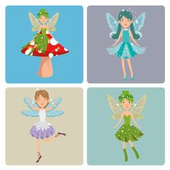 set of sweet and cute fairies cartoon vector illustration graphic design