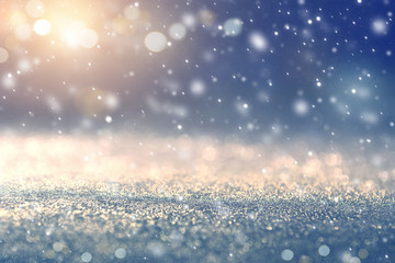 Fototapete - Christmas background with Falling snow, snowflake. Holiday winter for Merry Christmas and Happy New Year.