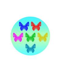 бабочки цветные в кружочке