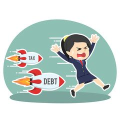 businesswoman being chased by tax debt rocket– stock illustration