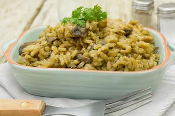 risotto poulet et champignons