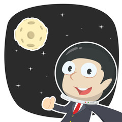Businessman selfie in space– stock illustration
