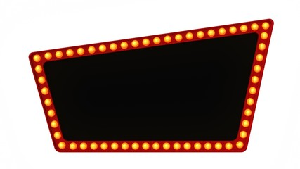 Red Marquee light board sign retro on white background. 3d rendering Wall mural