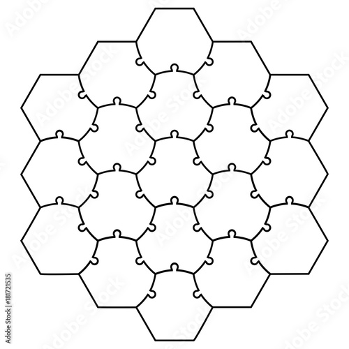 Hexagonal Jigsaw Puzzle Template Vector Form A Honeycomb