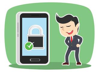 Businessman with secured smartphone– stock illustration