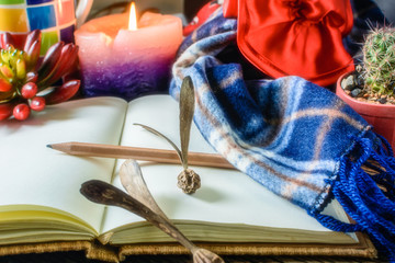Pencils, notebooks, scarves and candles. In the cold winter and the time for taking notes about the incident happened.