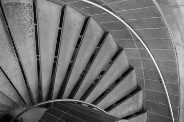 Step of spiral staircase, Black and white tone