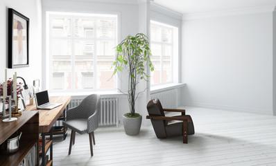 Wohnzimmer mit Einrichtung (Konzept)