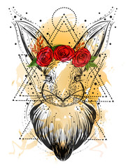 Bohemian illustration with hand drawn white rabbit at watercolor background. Vintage, boho, gypsy style.