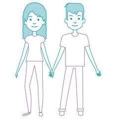 lovers couple avatars characters vector illustration design
