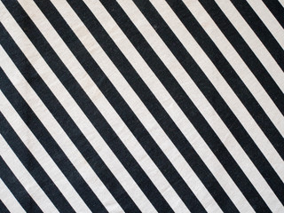 Closeup of black and white stripped fabric