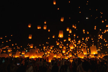 yee peng , Floating lanterns festival in Chiang mai Thailand
