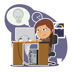Tired indian businesswoman working with dim bulb callout– stock illustration