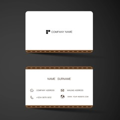 Modern business card template design. With inspiration from the abstract. Contact card for company. Two sided  white color . Vector illustration.