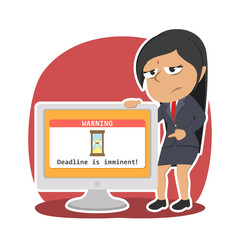 Indian businesswoman showing deadline reminder from monitor– stock illustration