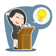 asian businesswoman giving speech about her idea– stock illustr