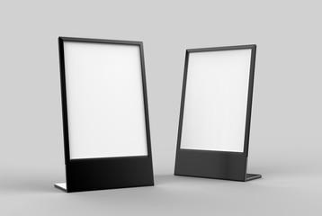 Side loading slide in metal frame table top counter. Blank white 3d render illustration