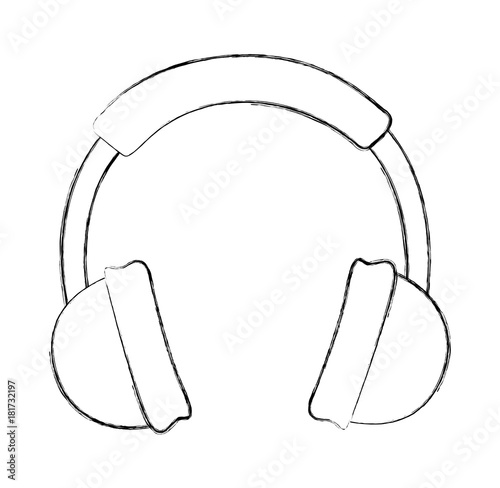 Sketch draw headphones cartoon vector graphic design
