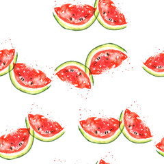 Seamless watercolor pattern with a piece of red