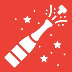 Champagne bottle pop glyph icon, New year