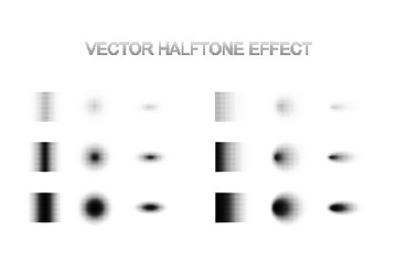 Vector halftone shadow effect set. Different gradient shadows in halftone effect.